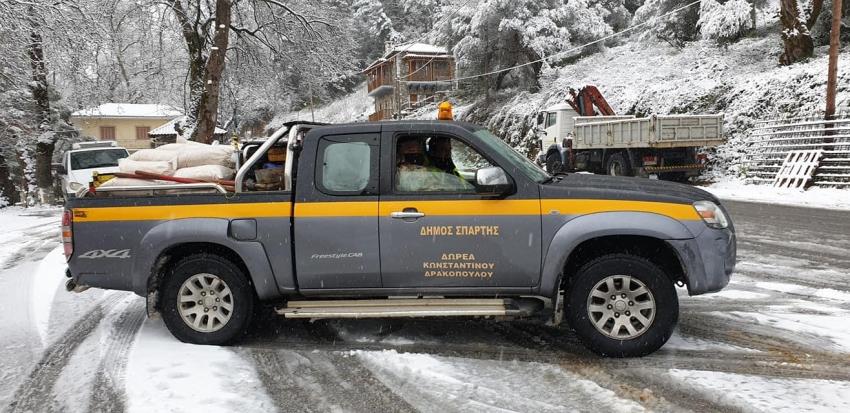 Σε ετοιμότητα ενόψει προγνώσεων χιονοπτώσεων στα ορεινά του Δήμου Σπάρτης