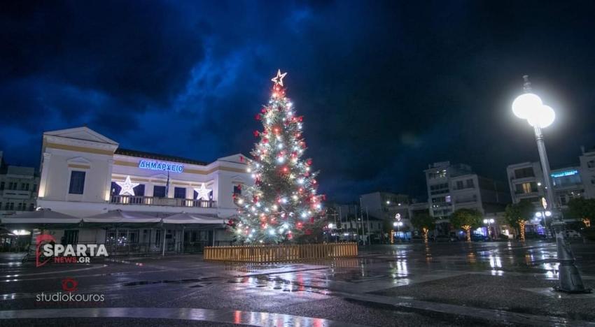 Live-Φωταγώγηση του χριστουγεννιάτικου δέντρου της Σπάρτης